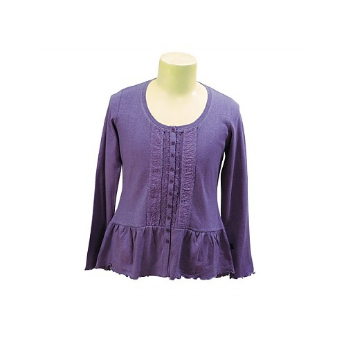Hemp Cotton Frilly Cardigan - Light Purple - 18